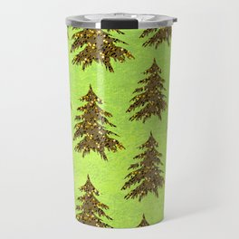 Sparkly Gold Christmas tree on abstract green paper Travel Mug