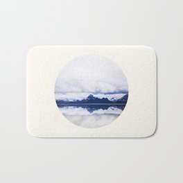 Mid Century Modern Round Circle Photo Graphic Design Navy Blue Arctic Mountains Bath Mat