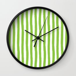 Green and White Cabana Stripes Palm Beach Preppy Wall Clock