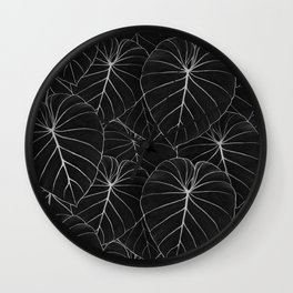 blackwork philodendron leaves Wall Clock