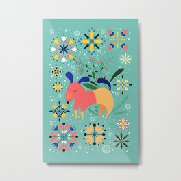 Happy Dog Card Metal Print