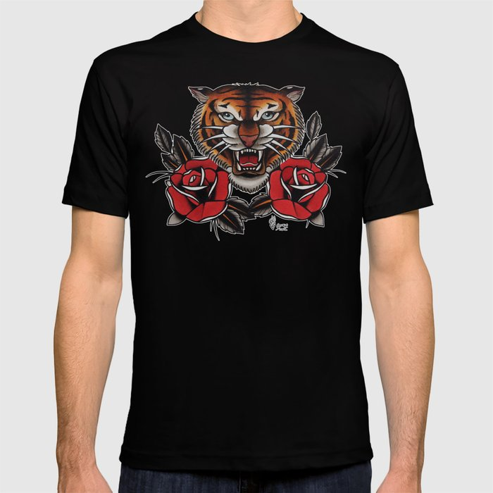 2b9ab1a19 Old School Tiger and roses - tattoo T-shirt by gurumarques   Society6