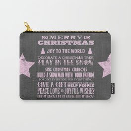 Pink Christmas Chalkboard Typography Quotes Carry-All Pouch
