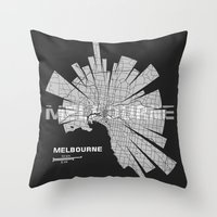melbourne Throw Pillows featuring Melbourne Map by Shirt Urbanization