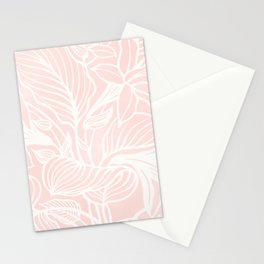 Pink Coral Floral Garden Stationery Cards