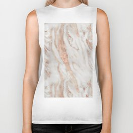 Rose Gold and White Marble 1 Biker Tank