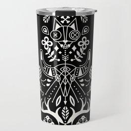 La Vie + La Mort: White Ink Travel Mug