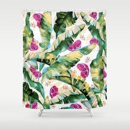 Banana leaf & Pomegranate II Shower Curtain
