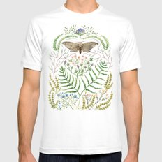 Moth with Plants II MEDIUM White Mens Fitted Tee