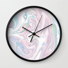 Abstract pastel pink purple teal watercolor marble Wall Clock