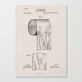 Original Toilet Paper U.S. Patent No. 465,588 by Seth Wheeler (Dec. 22, 1891) Canvas Print