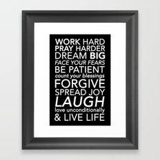Work Pray Dream Framed Art Print