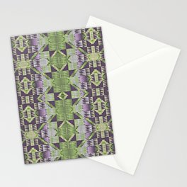 Violet Purple Pink Lime Green Native American Indian Mosaic Pattern Stationery Cards