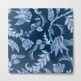 ROYAL BLUE BATIK FLORAL Metal Print