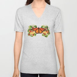 Monarch Butterfly with Strawberries on Aqua Unisex V-Neck