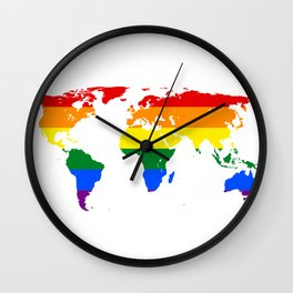 LGBT World Map Wall Clock