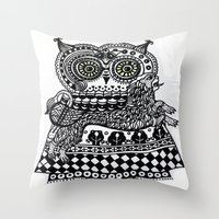 celtic Throw Pillows featuring Celtic owl by oxana zaika