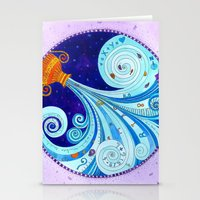 aquarius Stationery Cards featuring Aquarius by Sandra Nascimento