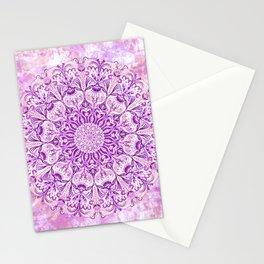 Lavender & Lilac Watercolor Mandala , Relaxation & Meditation Circle Pattern Stationery Cards