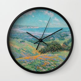 Malibu Coast, California with wild poppies floral seascape painting by Granville Redmond Wall Clock