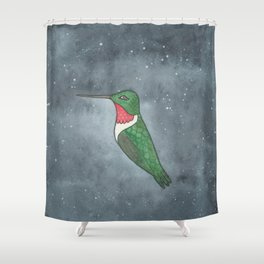 Ruby-Throated Hummingbird - Heart Chakra - Watercolor Painting Shower Curtain