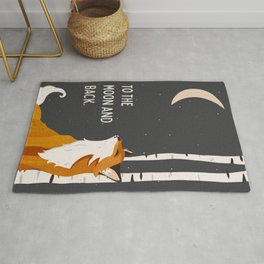 """To The Moon & Back"" Cute Fox Looking At The Moon Wall Art For Children Rug"
