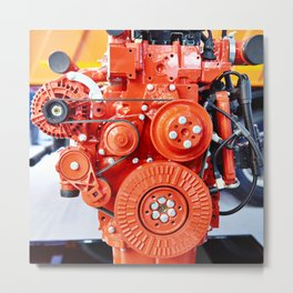 Red diesel engine for truck Metal Print