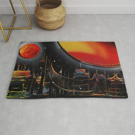 Moonlight Over The Shifting City Rug