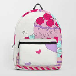 Valentine cake with two hearts Backpack