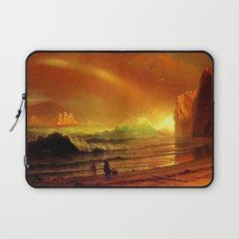 Classical Masterpiece Coastal Sunset by Albert Bierstadt Laptop Sleeve