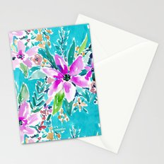 TROPICAL BENEVOLENCE Aqua Floral Stationery Cards