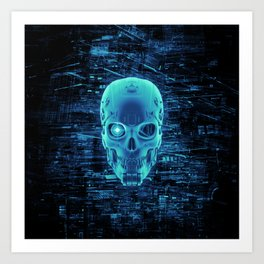 Gamer Skull BLUE TECH / 3D render of cyborg head Art Print
