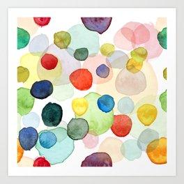 Watercolor drops multicolor Art Print