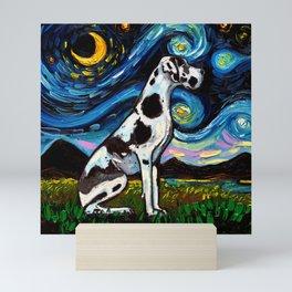 Harlequin Great Dane Night Mini Art Print