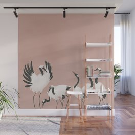 Crane Dance - Mauve Pink Wall Mural