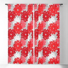 Modern Floral Kimono Print, Coral Red and Gray Blackout Curtain