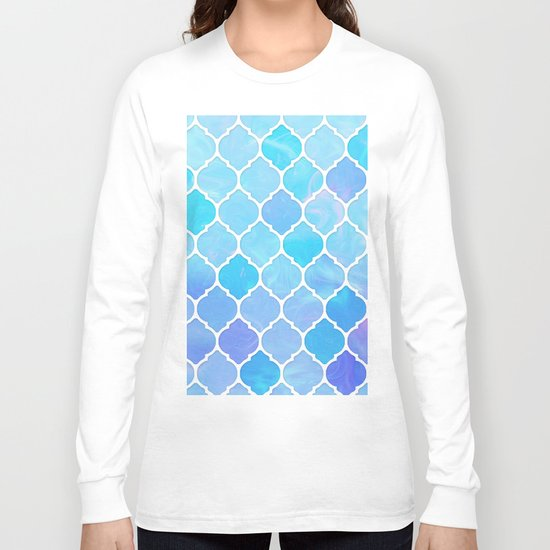 Blue and purple glass Moroccan print Long Sleeve T-shirt
