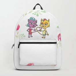 Cool Cats in Wreath-Pink Flowers Backpack