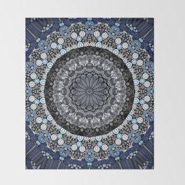 Dark Blue Grey Mandala Design Throw Blanket