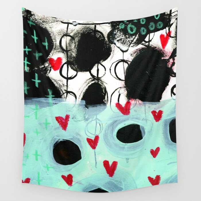 Falling Hearts Wall Tapestry