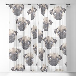 Pug Diamonds Sheer Curtain