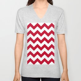 Chilli Pepper Red Chevron Pattern  Unisex V-Neck