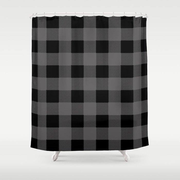 Gray Buffalo Plaid Shower Curtain