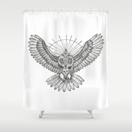 Mason Owl with skull, rule, compass and the eye that sees everything (tattoo style) Shower Curtain