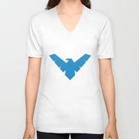 nightwing V-neck T-shirts featuring Nightwing by Yesi Danderfer