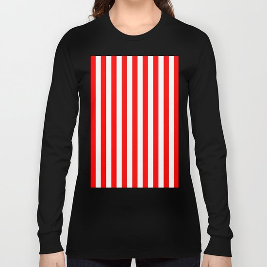 Vertical Stripes (Red/White) Long Sleeve T-shirt
