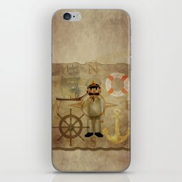 Captain, ship, rudder, anchor, lifebelt, map, compass, old map, messy, messy map iPhone Skin