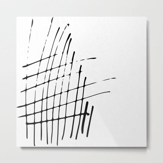 Grid Sketch Black and White Metal Print