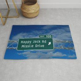 Road signage Happy Jack Rd Missile Drive Rug