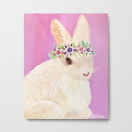 Fluffy Spring Bunny with a Flower Crown Metal Print